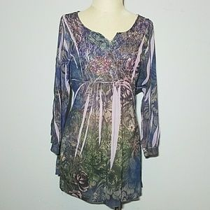 C NWT B.L.E.U. floral lace shirt medium